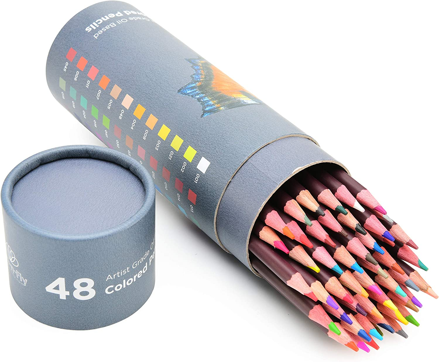 48 Professional Oil Based Colored Pencils for Artist Including Skin Tone Color Pencils for Coloring Drawing and Sketching