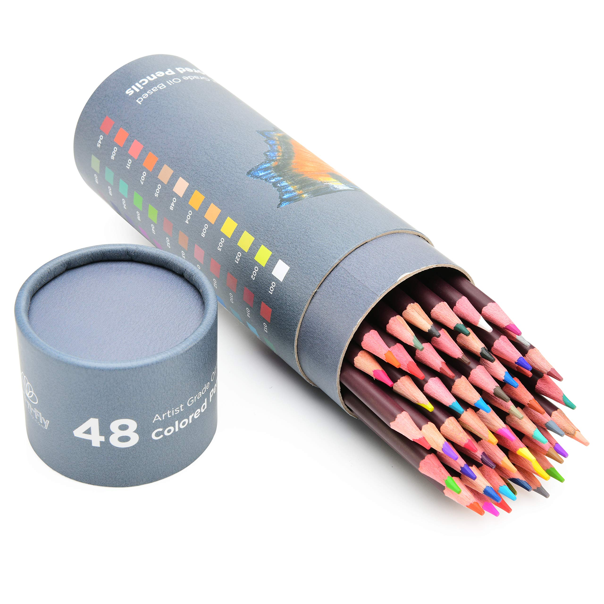 48 Professional Oil Based Colored Pencils For Artist Including Skin Tone Color Pencils For Coloring Drawing And Sketching by Art-n-Fly