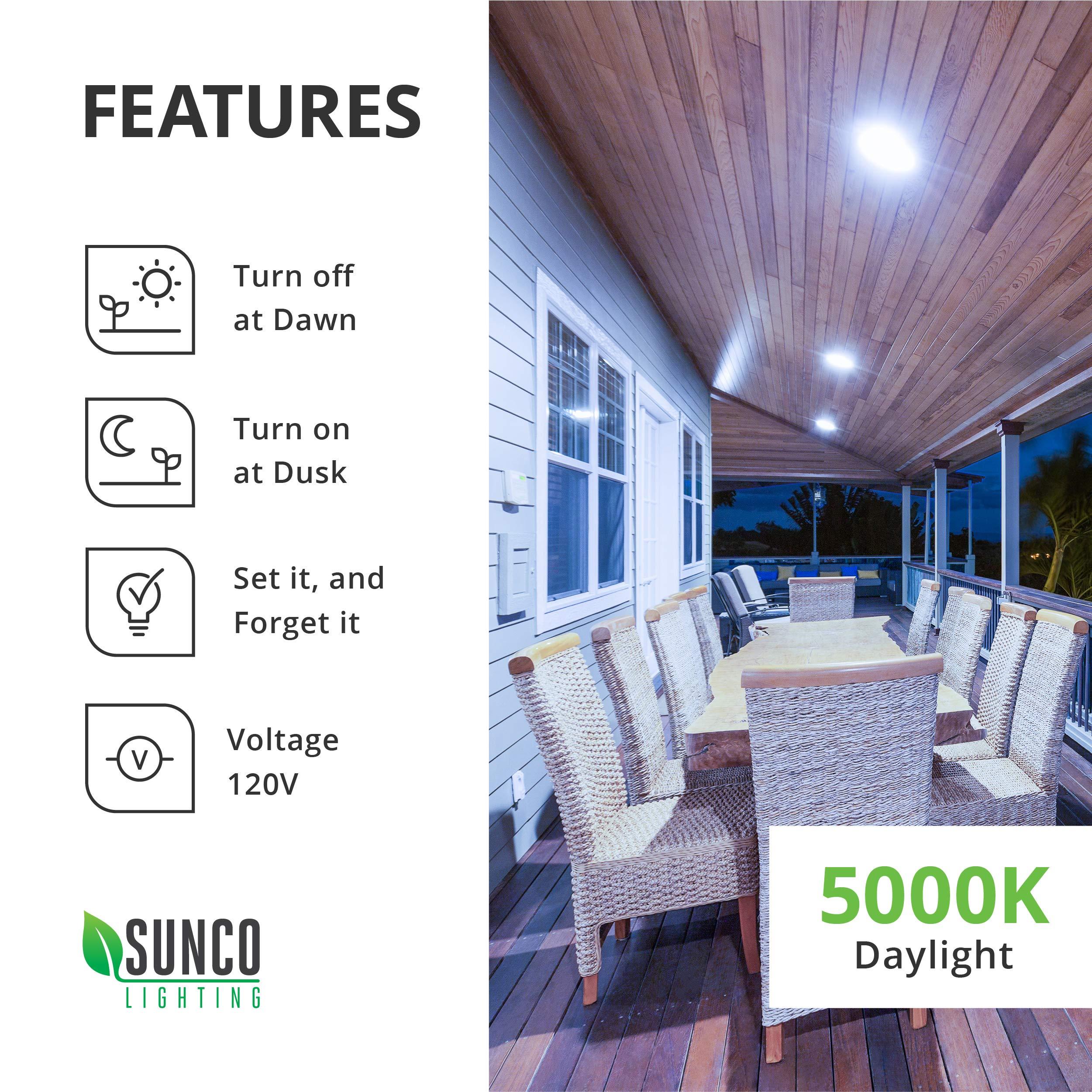 Sunco Lighting 4 Pack PAR30 LED Bulb, Dusk-to-Dawn Photocell Sensor, 11W=75W, 5000K Daylight, 850 LM, Auto On/Off Security Flood Light - UL by Sunco Lighting (Image #5)
