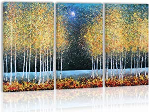 Birch Autumn Tree Wall Art Décor Fall Trees Modern Artwork Canvas Painting Prints Pictures Home Decor for Living Room Dining Room Bedroom