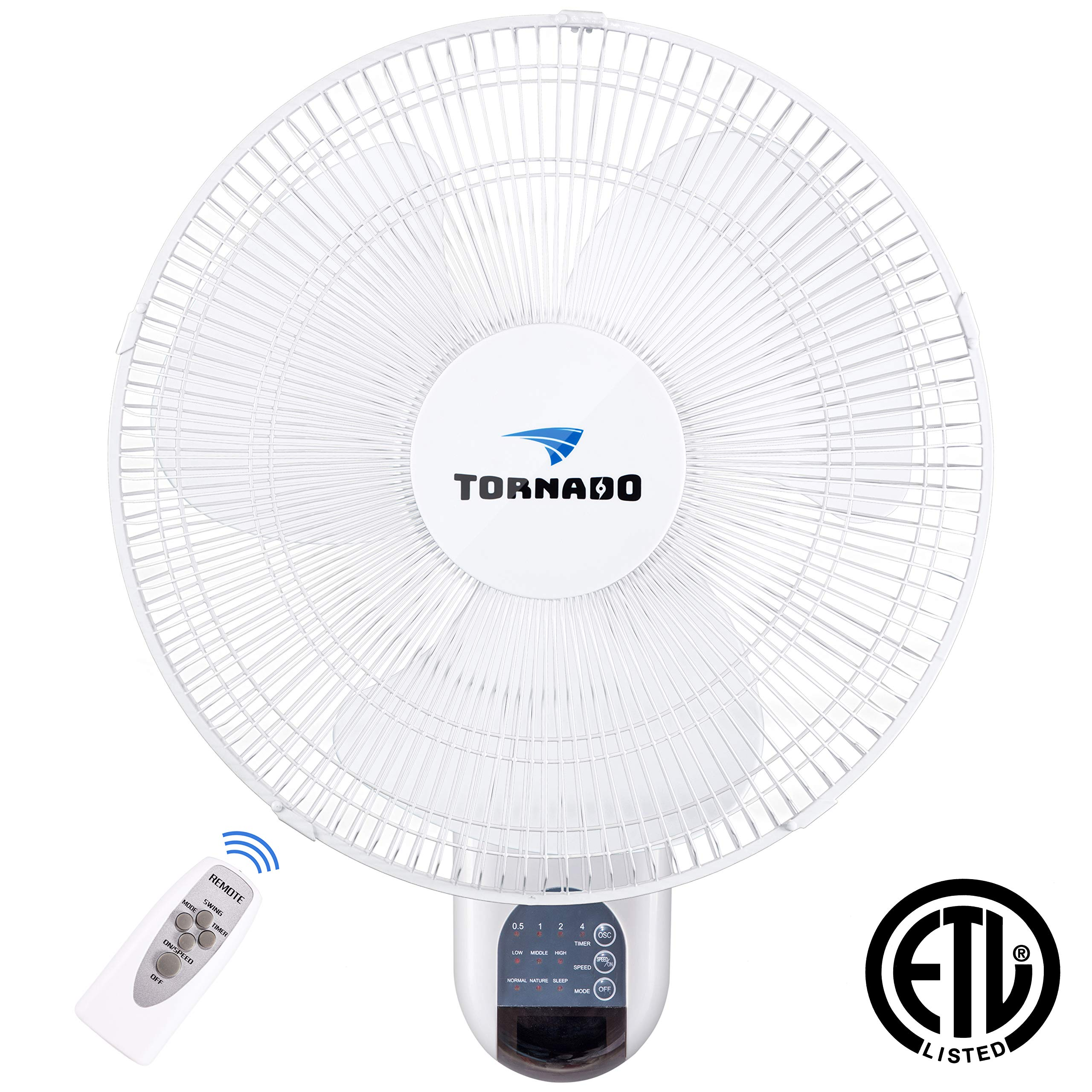 Tornado 16 Inch Digital Wall Mount Fan - Remote Control Included - 3 Speed Settings - 3 Oscillating Settings - 65 Inches Power Cord - ETL Safety Listed by Tornado