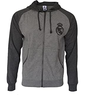 Real Madrid Hoodie lightweight Fz Summer Light Zip up Jacket Grey Adults (Grey, S
