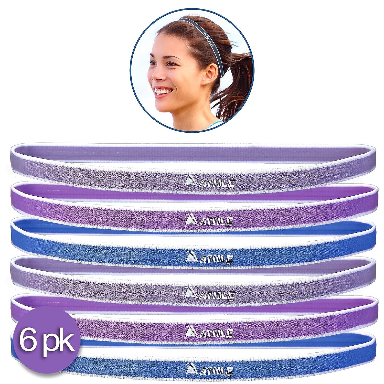 メンズ&レディース スポーツヘッドバンド 6本セット 薄手で快適な伸縮シリコングリップ ヘア&スウェットバンド エクササイズ バスケット サッカー テニス クロスフィット ヨガ ゴルフに最適  PUrple , Blue, Light Purple B06Y1T84G3