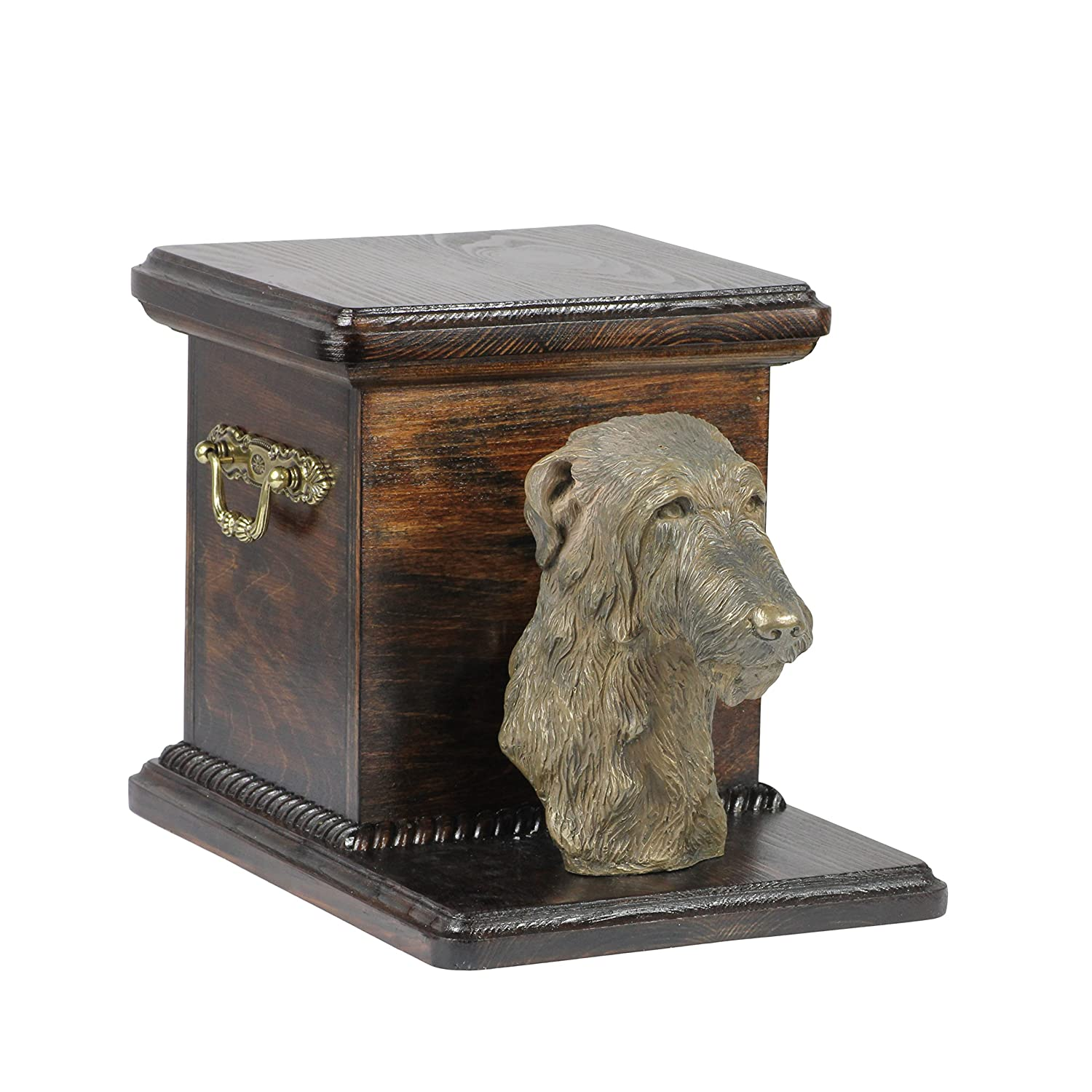 Deerhound, memorial, urn for dog's ashes, with dog statue, ArtDog