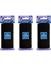 Goody Ouchless Women's Braided Elastics, Black, (96 CT Total/Pack of 3) 4MM for Medium Hair