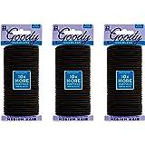 Goody Hair Women's Braided Hair Elastics Black 4mm for Medium Hair, 32 Count, Pack of 3
