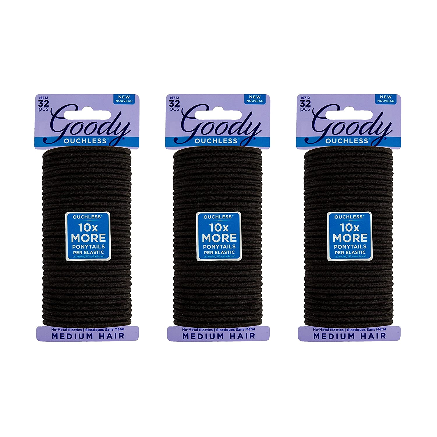 Goody Ouchless Women's Braided Elastics, Black, (96 CT Total/Pack of 3) 4MM for Medium Hair 30041457167121
