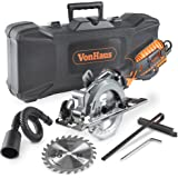 VonHaus 5.8 Amp Corded Ultra-Compact Circular Saw - 3,500 RPM with Miter Function, Dust Port, Carry Storage Case, Vacuum Hose and 2 x 24T Wood Blade Kit