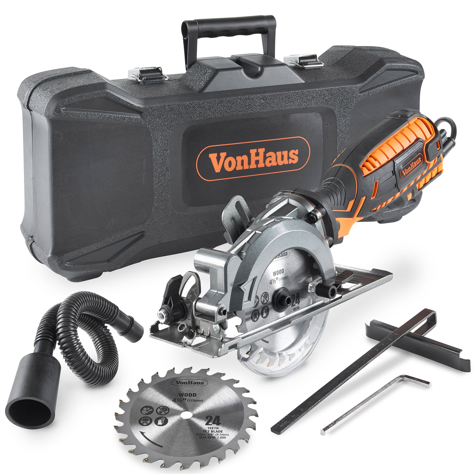 VonHaus 5.8 Amp Corded Ultra-Compact Circular Saw - 3,500 RPM with Miter Function, Dust Port, Carry Storage Case, Vacuum Hose and 2x 24T Wood Blade Kit