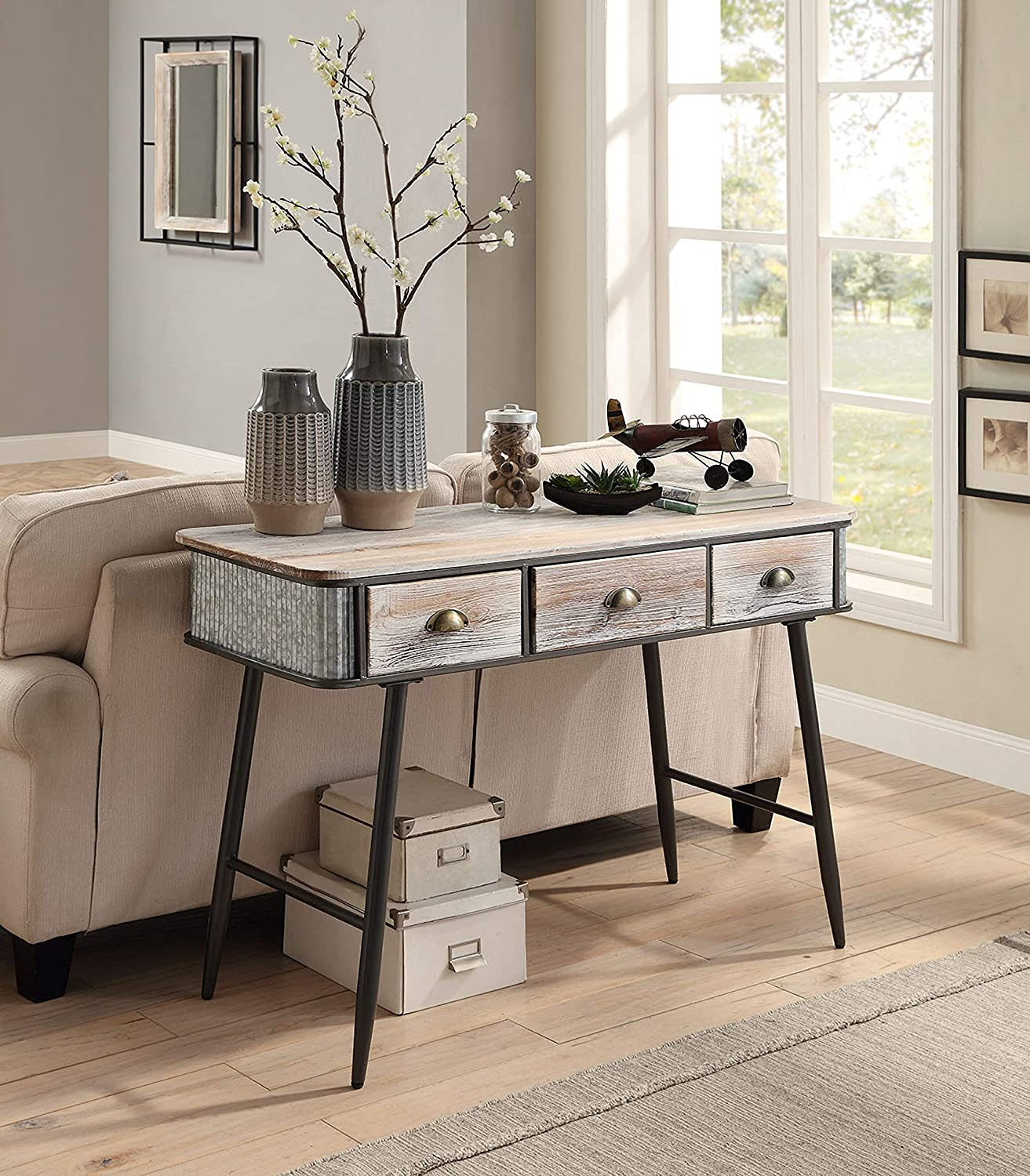 4D Concepts ALTA COLLECTION ENTRY TABLE WITH 3 DRAWERS/Washed Fir Wood w/gray and black metal Desk