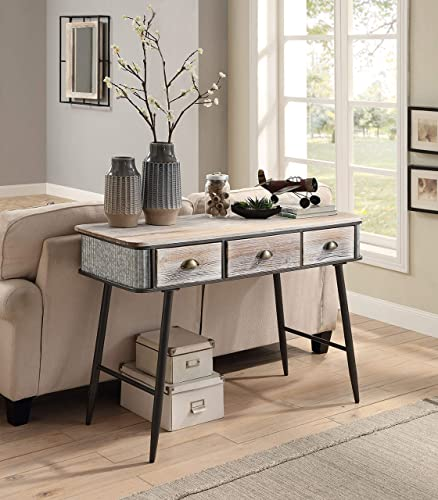 4D Concepts ALTA COLLECTION ENTRY TABLE WITH 3 DRAWERS/Washed Fir Wood w/gray and black metal Desk Review