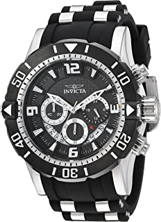 Invicta Mens Pro Diver Stainless Steel Quartz Diving Watch with Polyurethane Strap, Black, 26