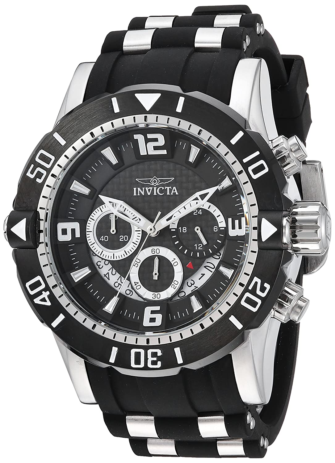 Amazon.com: Invicta Men's 'Pro Diver' Quartz Stainless Steel and  Polyurethane Diving Watch, Color:Black (Model: 23696): Watches