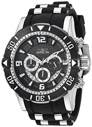 35afeead1 Amazon.com: Invicta Men's Pro Diver Stainless Steel Quartz Diving Watch with  Polyurethane Strap, Black, 26 (Model: 23696: Invicta: Watches