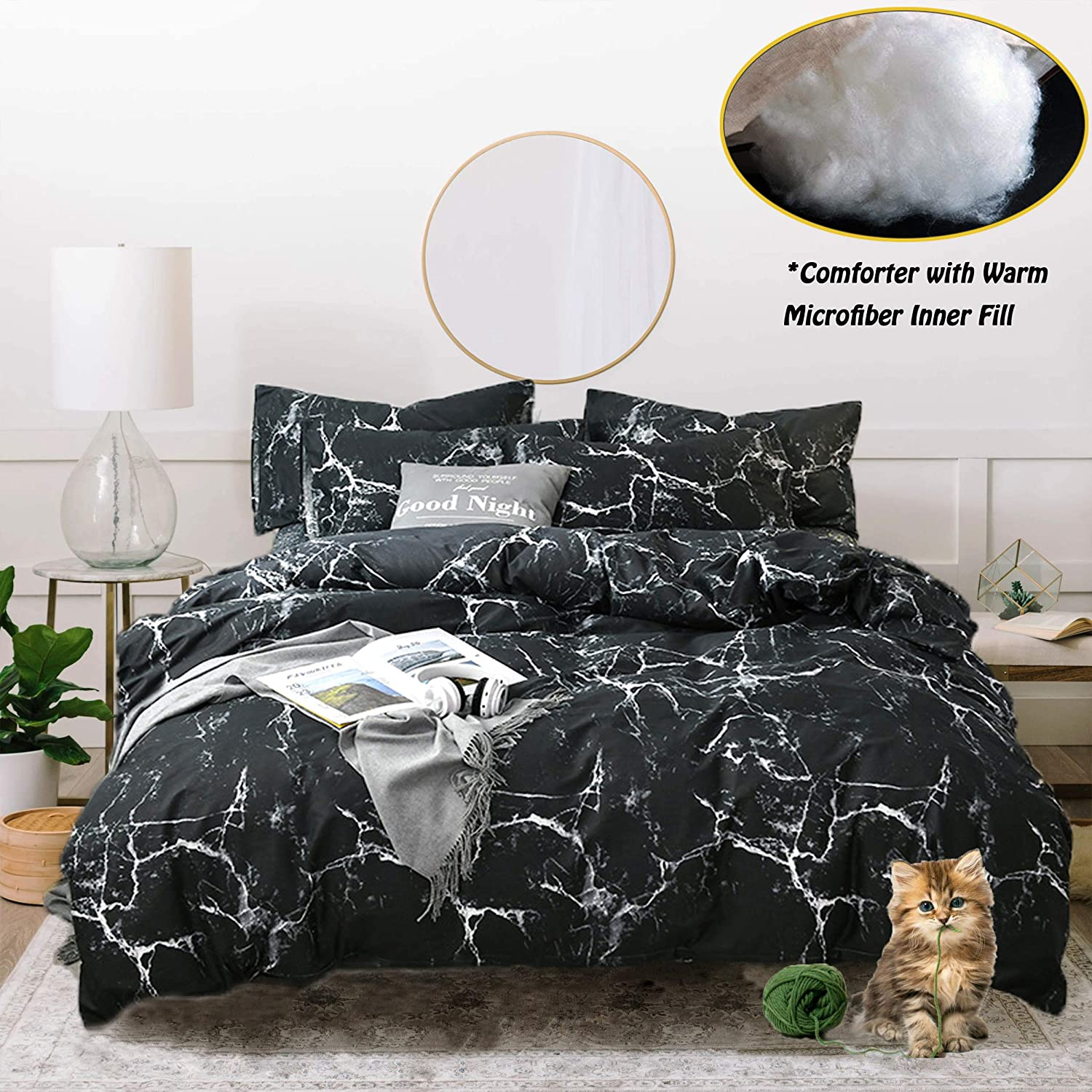 Jumeey Marble Comforter Set Queen Black Duvet Full Size with Modern Abstract Pattern Printed Bedding Sets for Men Women(3pcs, Queen Size)