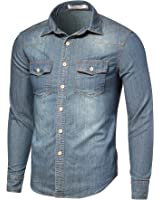 DAVID.ANN Men's Long Sleeve Western Denim Shirt
