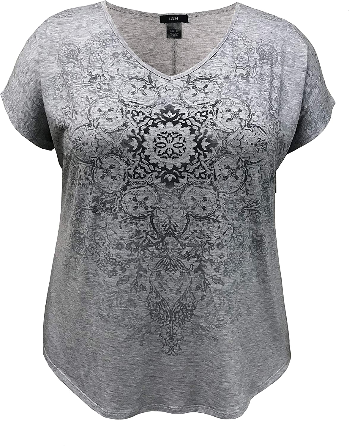 1X-5X LEEBE Womens Plus Size V-Neck Dolman Short Sleeve Print Top