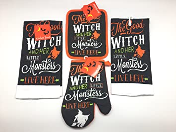 Amazon.com: Halloween Fun Good Witch Kitchen Dish Towels and Pot ...