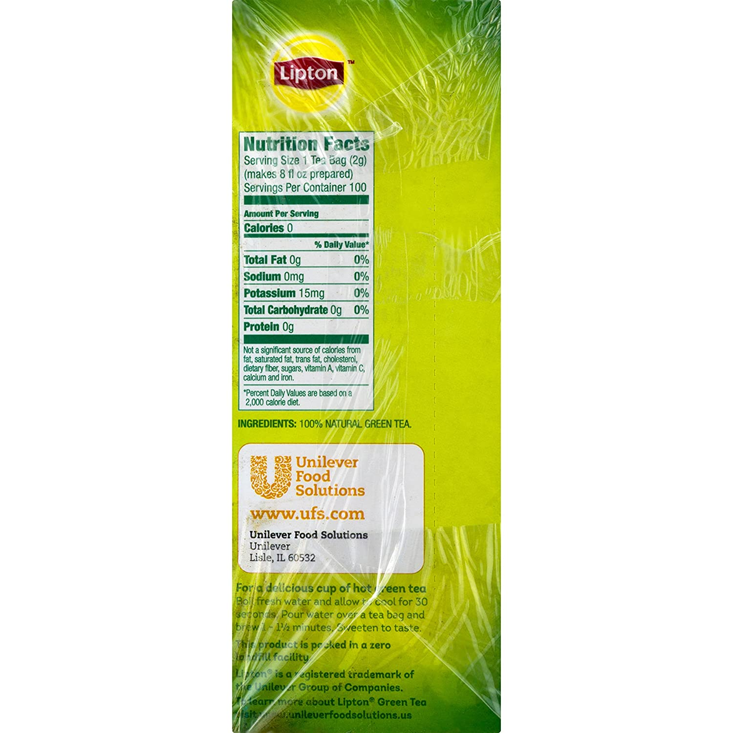 amazon com lipton green tea 100 percent natural 100 ct grocery