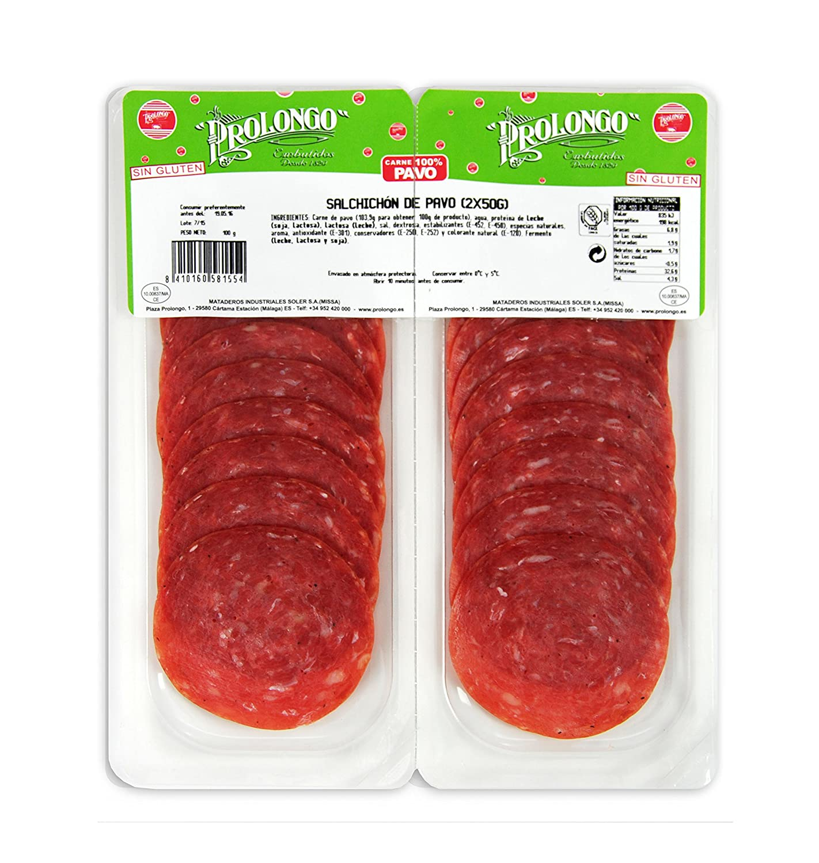 SOBRE SALCHICHÓN DE PAVO PROLONGO 2X50 gr. BIPACK: Amazon.es: Alimentación y bebidas