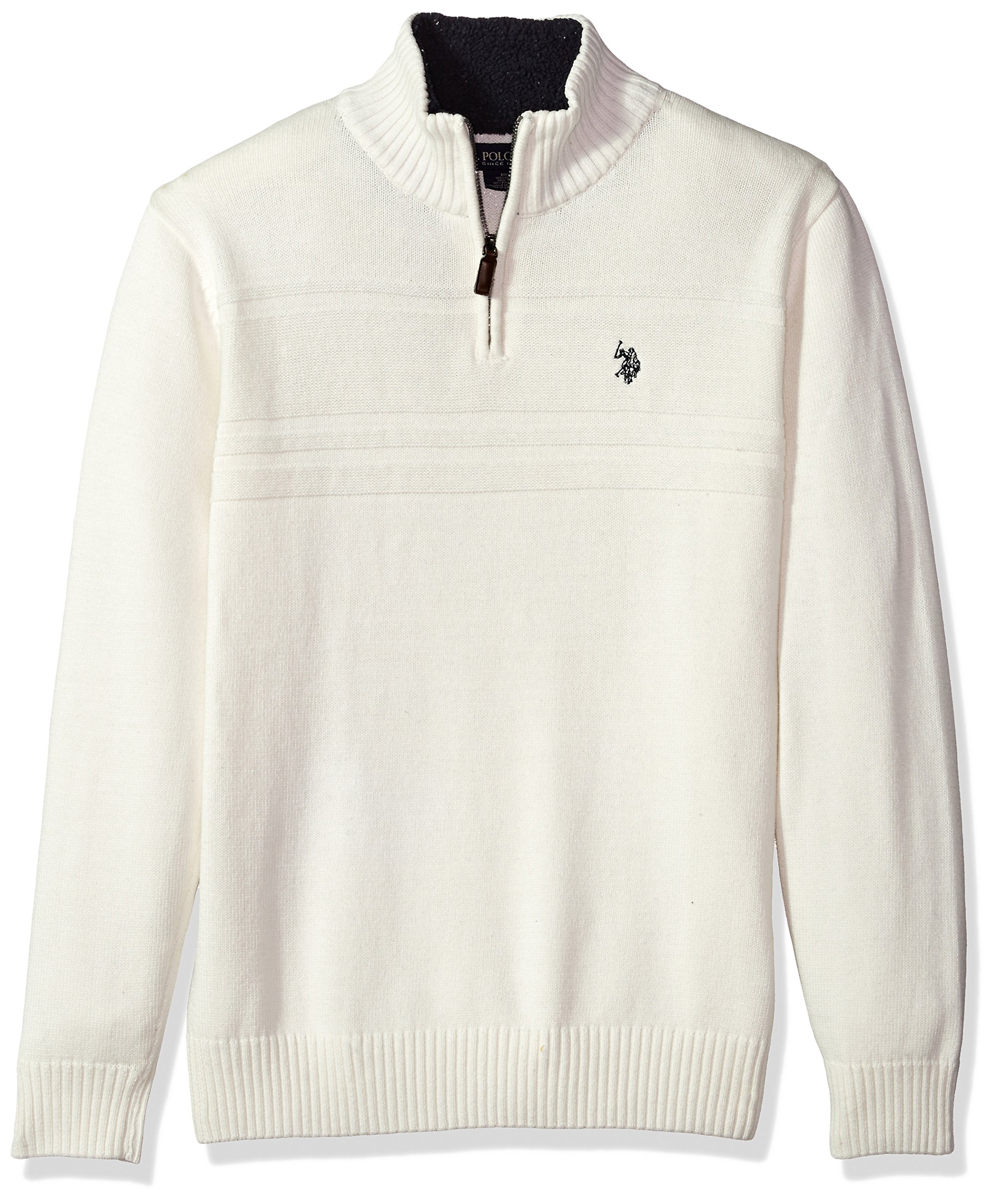 U.S. Polo Assn. Men's Solid Texture Chest Stripe 1/4 Sweater, Winter White, XX-Large by U.S. Polo Assn.