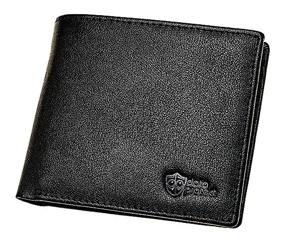 Cartera de piel negra con protección-RFID para tarjetas de crédito, tarjetas de banco y DNIs - cartera seguridad con monedero contra el robo de datos y ...