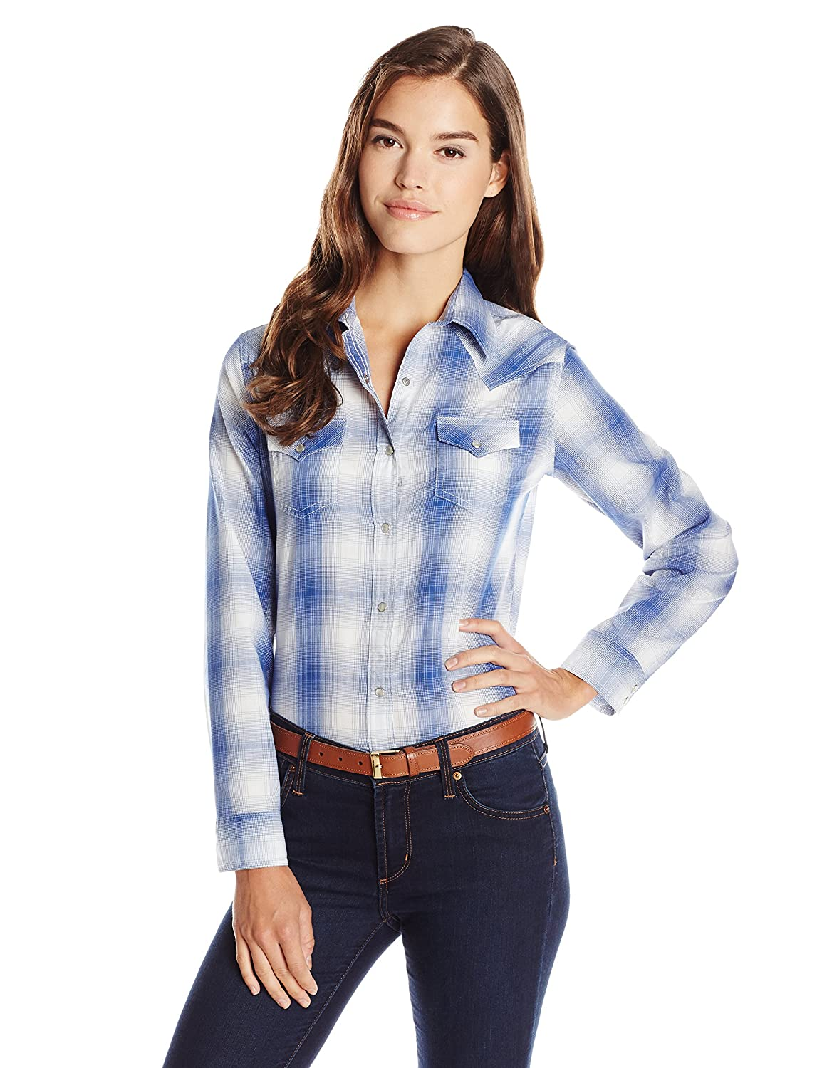 Wrangler Women's Western Plaid Shirt at Amazon Women's Clothing store: