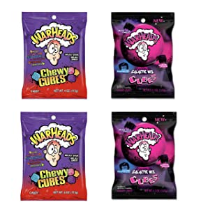 Warheads Cubes Bundle - 2 Bags Each of Warheads Sour Cubes and Warheads Galactic Mix Cubes