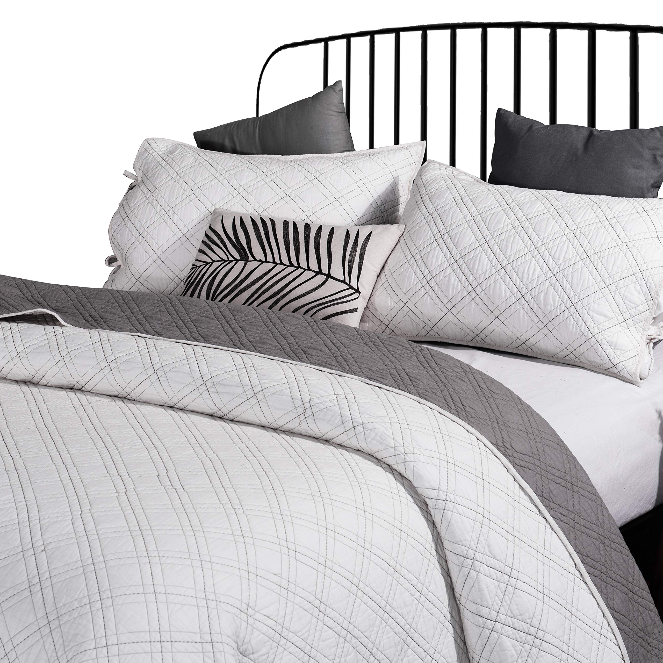 ANNA.Z HOME Seville, Mason, Coverlet, Quilt Collection, 100% Cotton 3 Piece Set. Trendy Embroidery & Quilting. Ivory and Gray Color. Reversible. Good for All Seasons (Ivory Mason, Queen Set)
