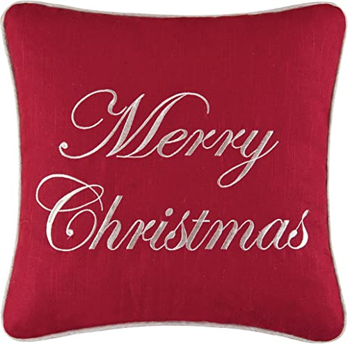 C F Home Merry Christmas Embroidered Pillow 16 x 16 Red