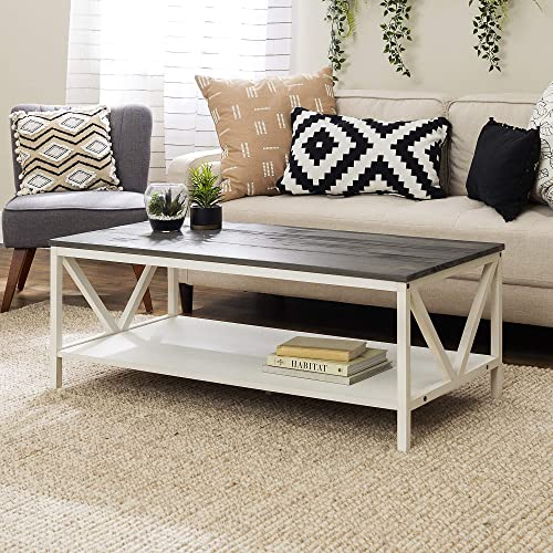 Walker Edison Modern Farmhouse Distressed Wood Rectangle Coffee Table Living Room Ottoman Storage Shelf