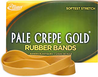 "product image for Alliance Rubber 21055 Pale Crepe Gold Rubber Bands Size #105, 1 lb Box Contains Approx. 95 Bands (5"" x 5/8"", Golden Crepe)"