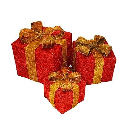 Juego de 3 cajas de regalo con luces LED para árbol de Navidad, cajas preiluminadas