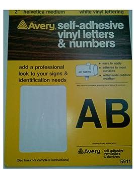 avery 5911 2 helvetica medium white vinyl lettering self