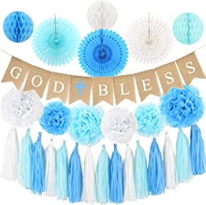 Baptism Decorations for Boy - First Communion Decor - God Bless High Quality Burlap Banner With Blue Cross, Honeycomb, Paper fan, Paper Tassel, Pompoms - Bautizo Decorations By Antsik'Aby