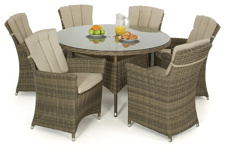 maze rattan winchester 6 sitz rund esstisch mit carver. Black Bedroom Furniture Sets. Home Design Ideas