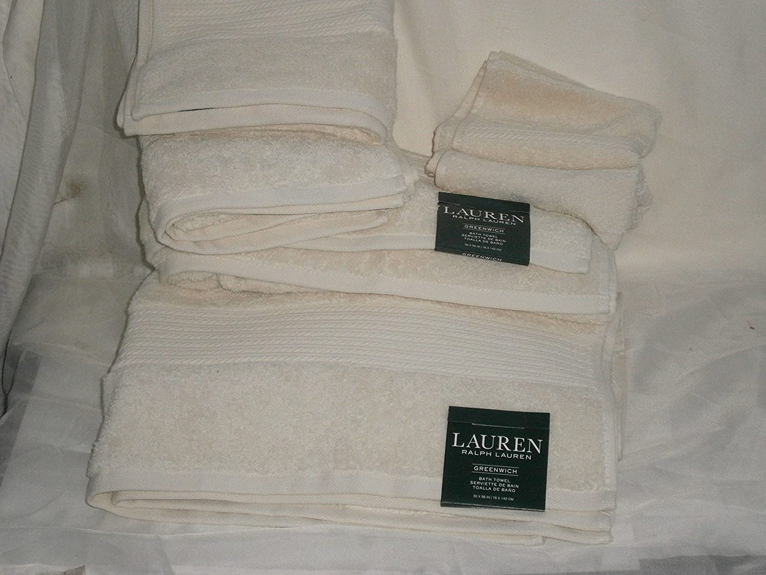 Amazon.com: RLauren Lauren Greenwich 6 pc TOWEL Set CREAM/Off White=2 bath 2 hand 2 washcloths: Home & Kitchen
