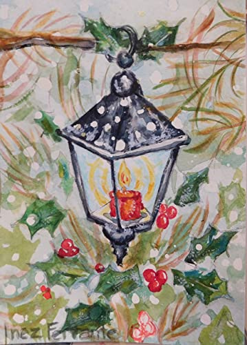 Amazon.com: HANDMADE Watercolor Christmas Cards, Set of 6 Vintage ...