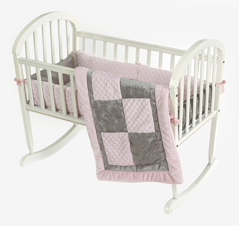 Baby Doll Bedding Croco Minky Cradle Bedding Set, Pink/Grey 8100cr36