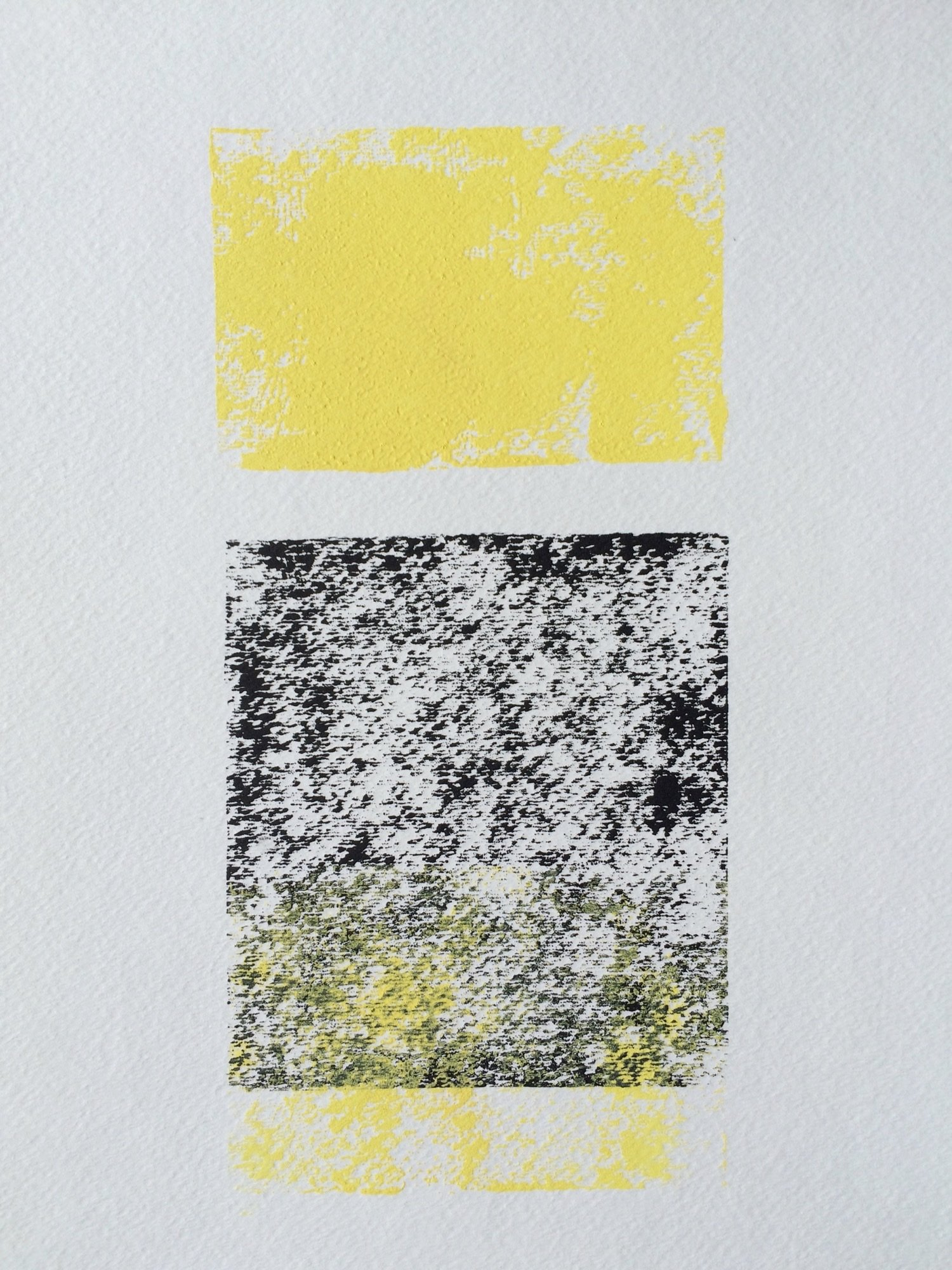 Yellow and Black abstract 9x12 block print by