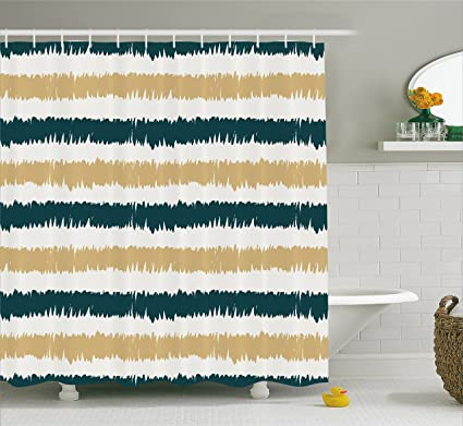 Ambesonne Striped Shower Curtain Set Navy Blue And Beige Paintbrush Strokes Design Lines Hand Drawn