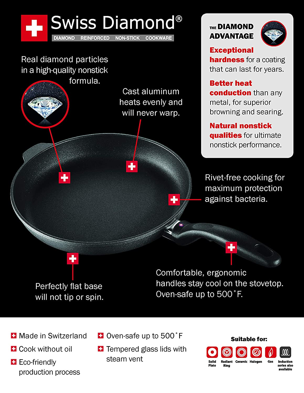 11 x 11 Swiss Diamond HD Classic Nonstick Induction Deep Square Grill Pan