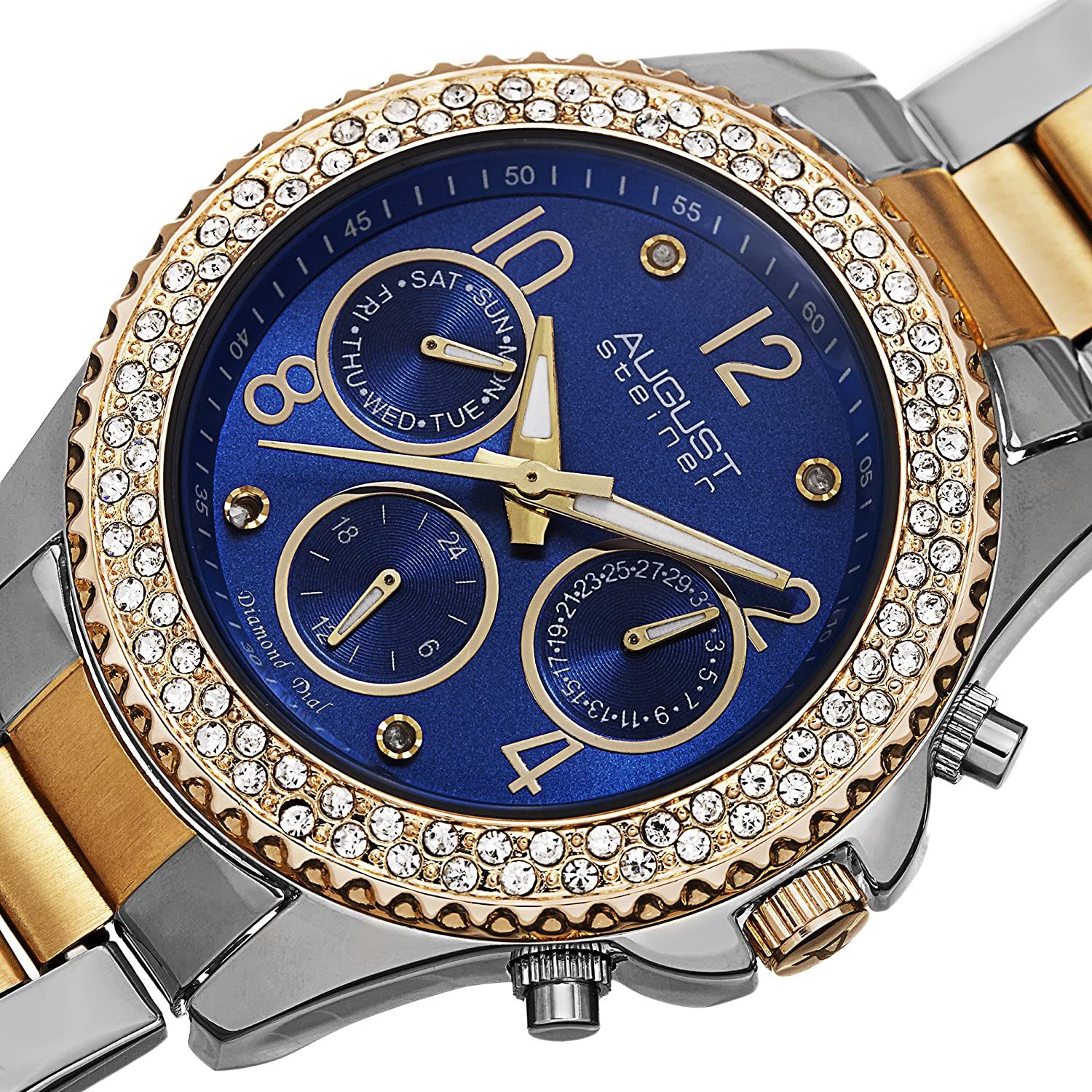 August Steiner Women's Multifunction Watch - 3 Subdials Day, Date and GMT On Colored Dial Crystal Filled Bezel on Stainless Steel Bracelet - AS8136 Deep Blue