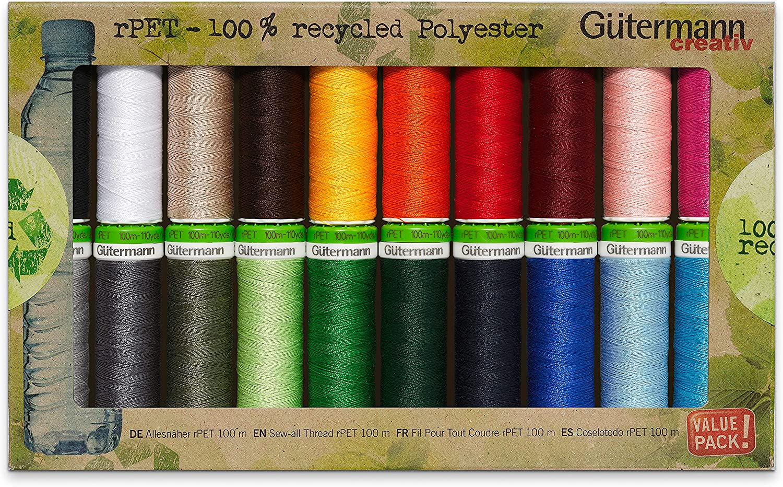 Gutermann 731139 Sew-all 100/% Poliestere Riciclato Colori Vivaci assortimento di Fili da Cucito 100 m x 10 Bobine