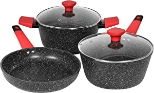 Art of Cooking Galaxy Series Granite Nonstick Cookware Set. Saucepan, Skillet, and Dutch Oven (Induction Compatible)