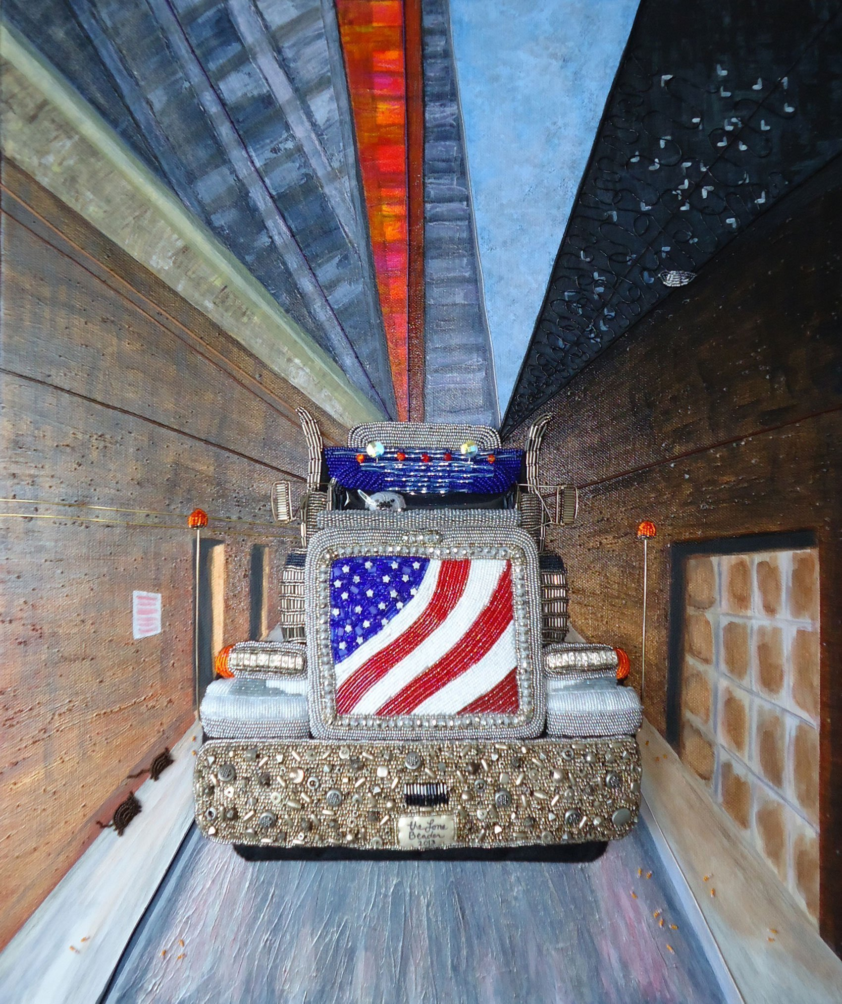 MAJESTIC Beaded Painting Tractor Trailer Truck art and Bulldog 20 x 24 canvas (Ready to Ship) (e)
