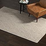 Amazon Brand – Rivet Wool Area Rug, 5 x 8 Foot, Grey, White