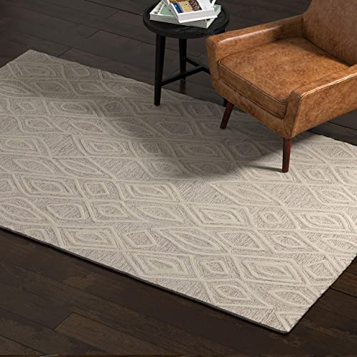 Rivet Wool Area Rug, 5 x 8 Foot, Grey, White