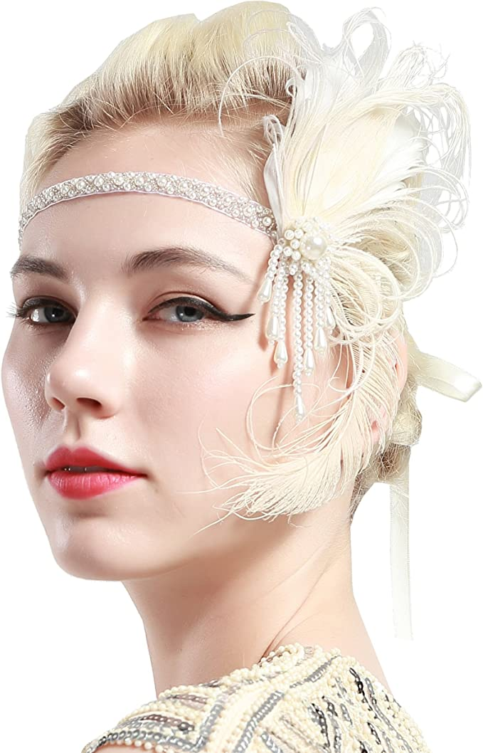 1920s Flapper Headband, Gatsby Headpiece, Wigs ArtiDeco 1920s Flapper Feather Headband Peacock 1920s Beaded Headpiece with Pearls Great Gatsby Costume Accessories Roaring 20s Accessories £10.99 AT vintagedancer.com