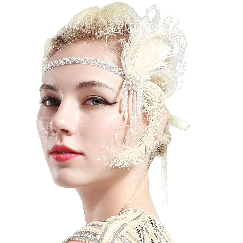 ArtiDeco Bandeau Gatsby Headband Cristal 1920s Bandeau Plume Gatsby Flapper Accessoires Charleston Bandeau Année 20 Vintage Partie à Thème ArtiDeco Headband Gatsby Ar-Headband014-White